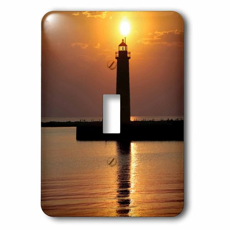 3dRose MI, Muskegon. Lighthouse on Lake Michigan - US23 RER0002 - Ric Ergenbright, Double Toggle Switch