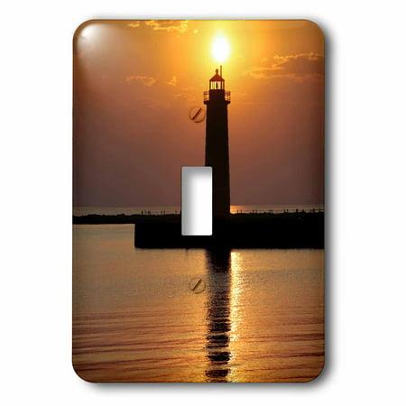 3dRose MI, Muskegon. Lighthouse on Lake Michigan - US23 RER0002 - Ric Ergenbright, Single Toggle Switch