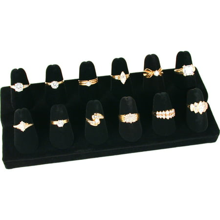 12 Finger Black Velvet Ring Showcase Counter Top Display Jewelry Holder ()