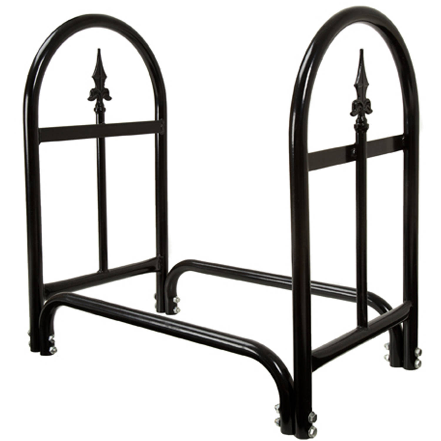 Pure Garden Fireplace Log Rack with Finial Design, Black