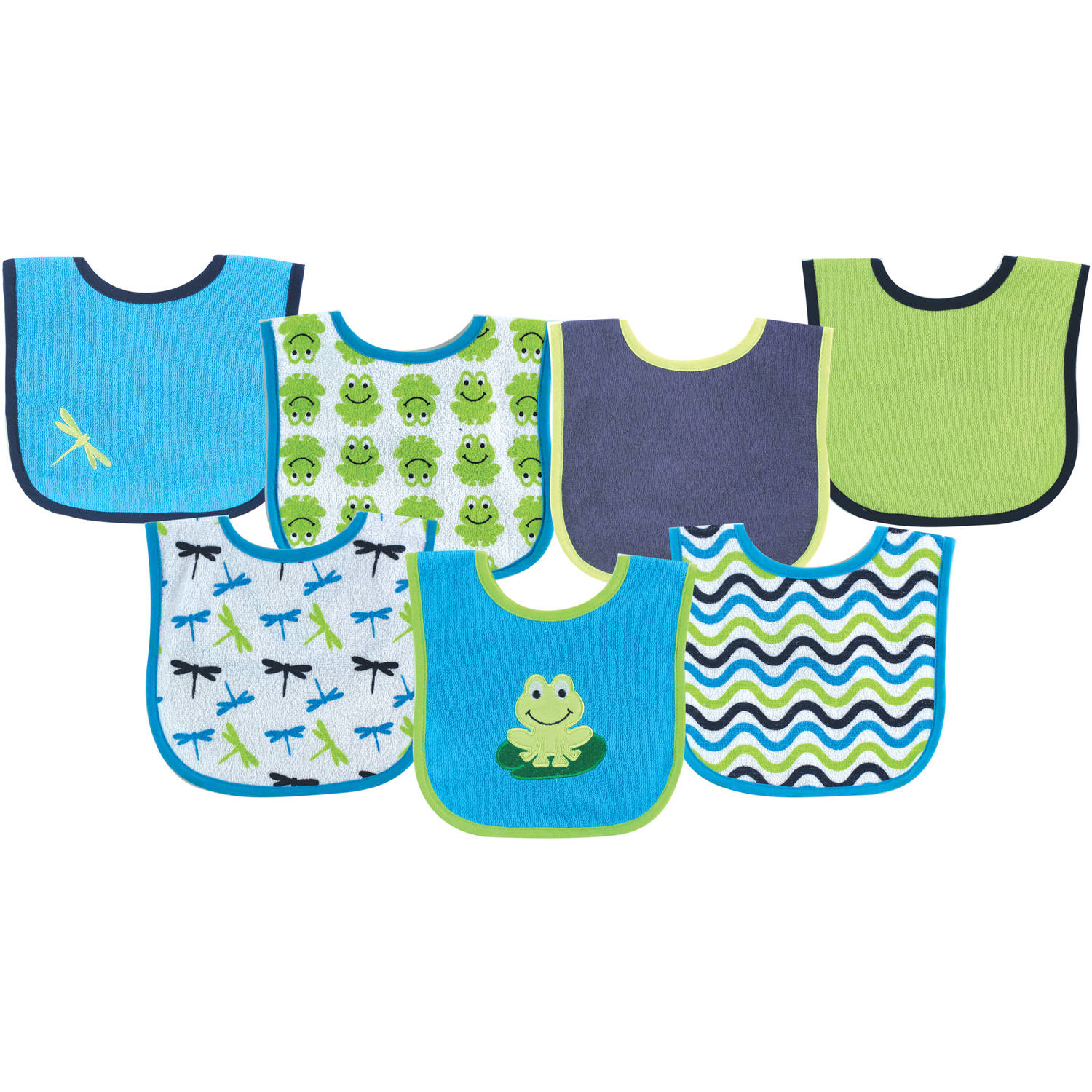 Luvable Friends Applique/Print Bib, 7pk, Multiple Colors