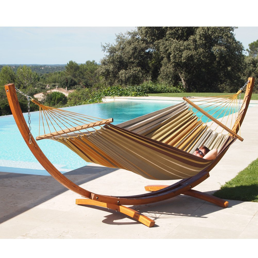 LazyDaze Hammocks Fabric Hammock and 12 feet Wood Arc Ham...