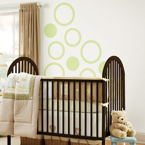 WallPops - Concentric Dots 4-Piece Set, Pea Pod Green