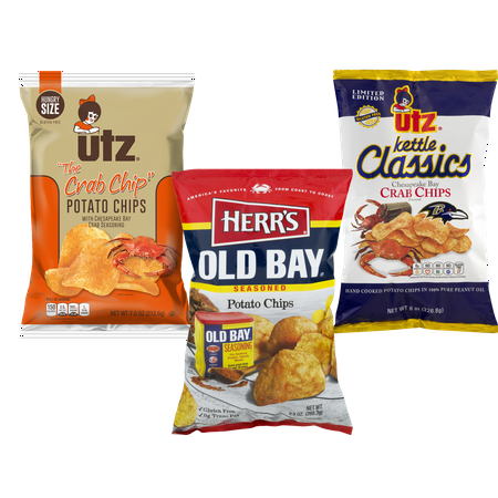 Old Bay Flavored Potato Chips, Hungry Size The Crab Chip & Kettle Classic Chesapeake Bay Crab Chip Variety 3-Pack