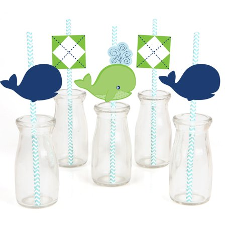 Tale of A Whale - Paper Straw Decor - Baby Shower or Birthday Party Striped Decorative Straws - Set of 24