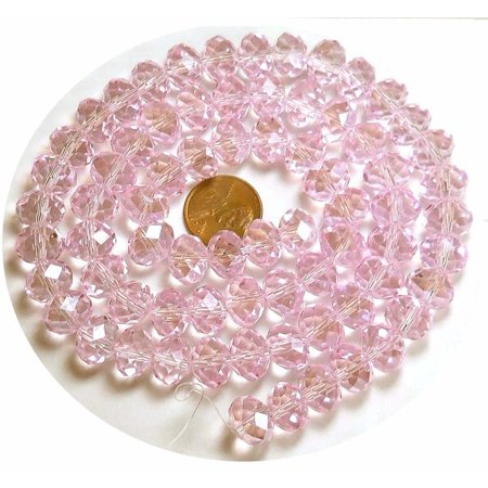 12x8mm Pink Luster Crystal Glass Faceted Fluted Cut Rondelle, Loose Beads,. 72 Piece