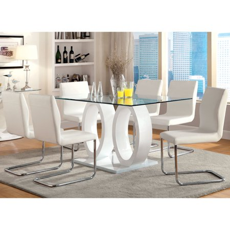 Olgette Contemporary Dining Table By Foa White Glossy Finish