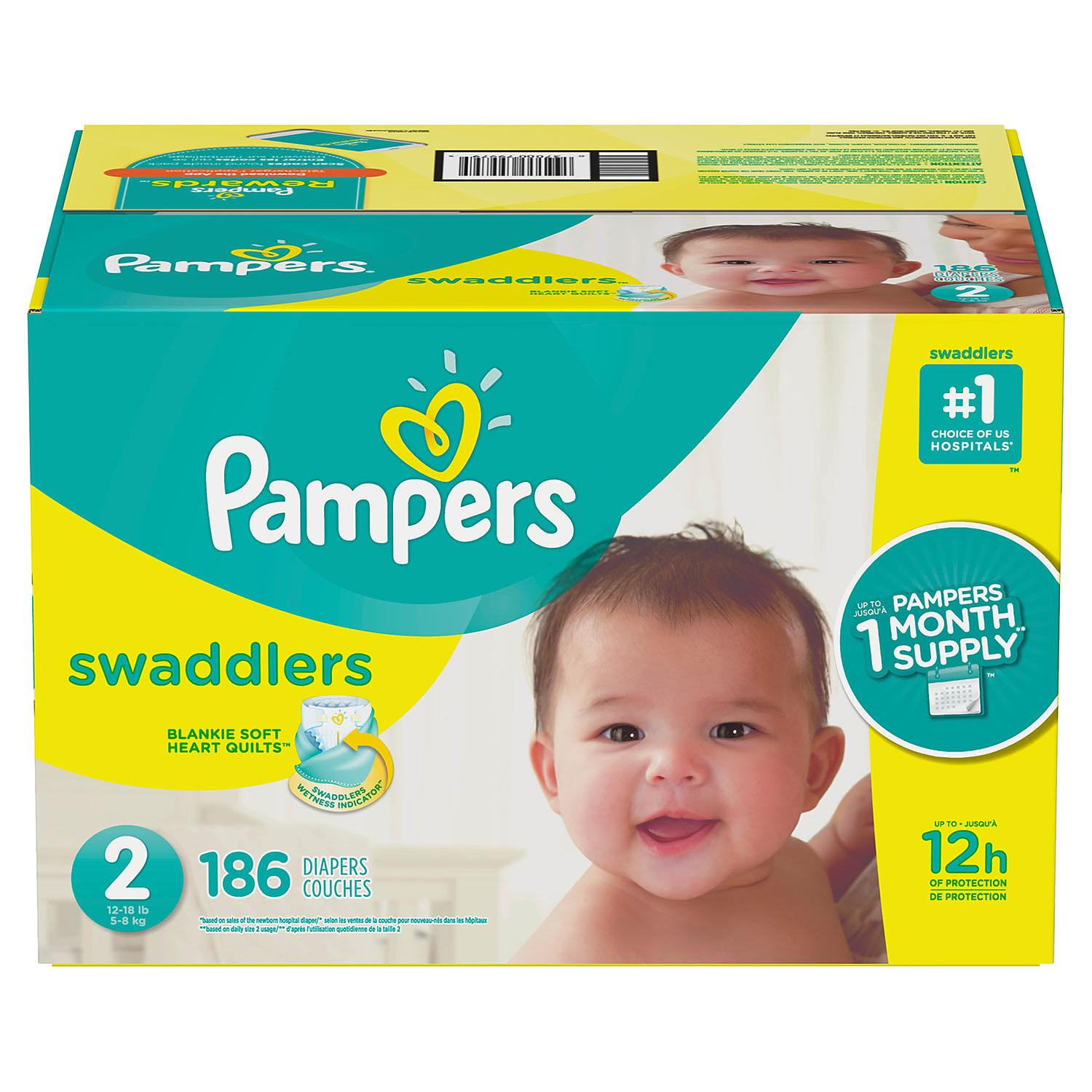 Item By Pampers Swaddlers Diapers #1 choice of hospitals, nurses and parents. size: 2 -186 ct. (12-18 lb.) by Brand By Diapers