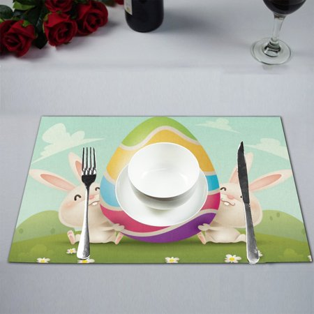 MYPOP Happy Easter Colorful Eggs Rabbit Kitchen Table Mat Placemats for Dining Table 12x18 inches
