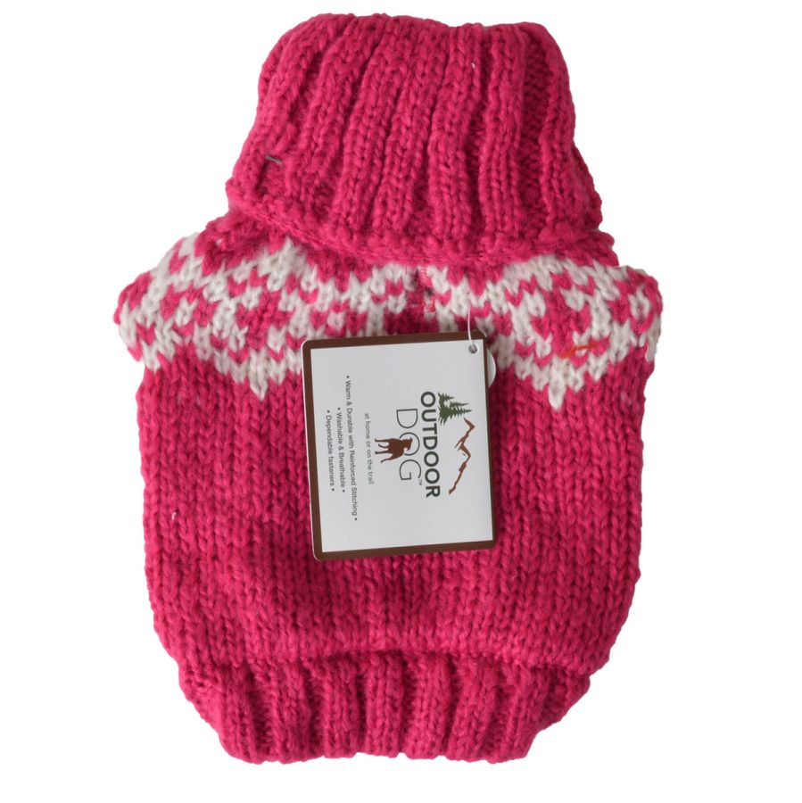 Fashion Pet Soft Fair Isle Dog Sweater - Pink X-Small (Dogs 8-10 Neck to Tail)
