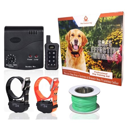 PetControl HQ Wireless Combo Electric Dog Fence System with Remote Dog Training