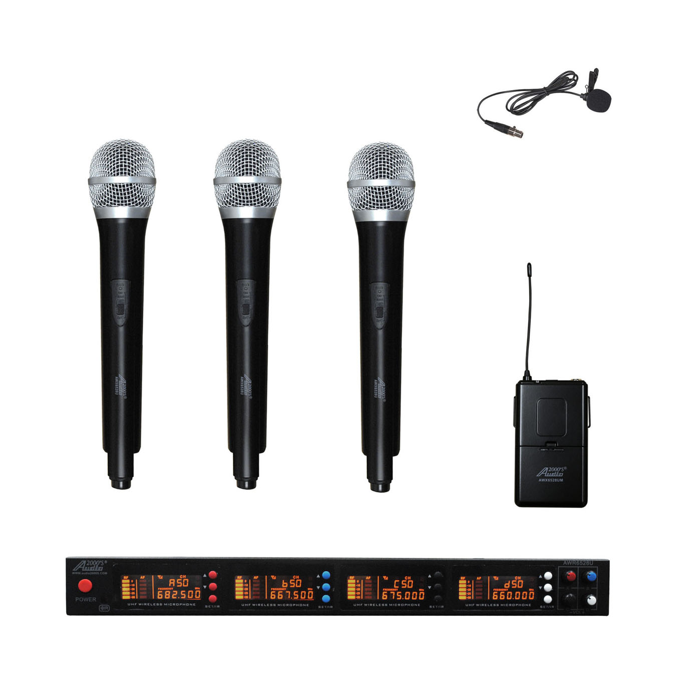 Audio2000s AWM6528H3L UHF 4 Channel Wireless Microphone w 3 Handheld & 1 Lapel Mics by