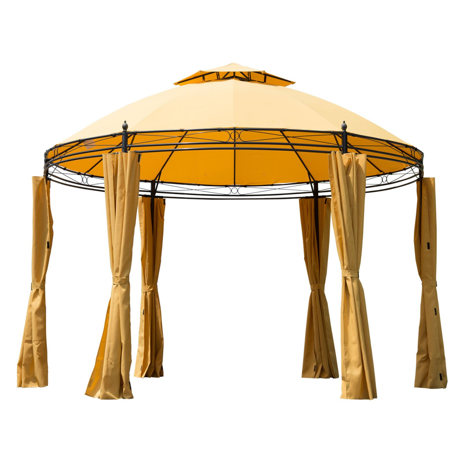 Outsunny 11 ft. Round Patio Party Gazebo Canopy with Curtains