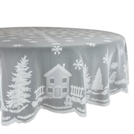 Design Imports Formal Round Lace Snow Village Kitchen Tablecloth, 70