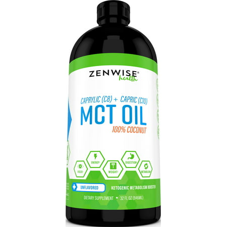 Zenwise Health Natural C8 & C10 Coconut MCt Oil for Energy & Weight Control, 32