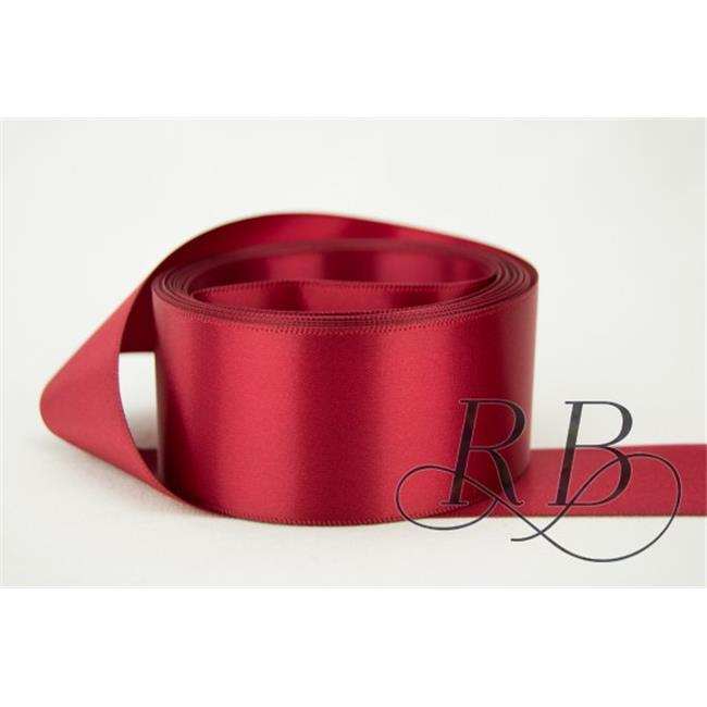 Ribbon Bazaar 7379 2.25 in. Double Faced Satin Ribbon, Brick Red - By The Yard