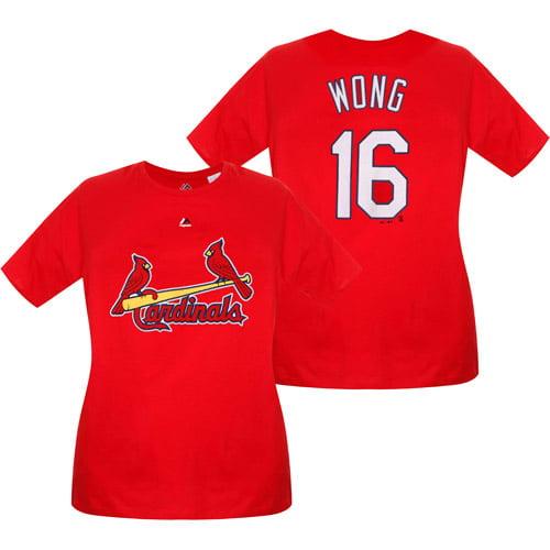Kolten Wong St. Louis Cardinals Majestic Women's Plus Size Name & Number T-Shirt - Red