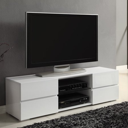 Coaster White Four Storage Drawer TV Console for TVs up to 55″