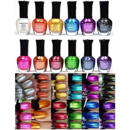 Full Polish Comb - Kleancolor Nail Polish - Awesome Metallic Full Size Lacquer (Set of 12 Pieces)