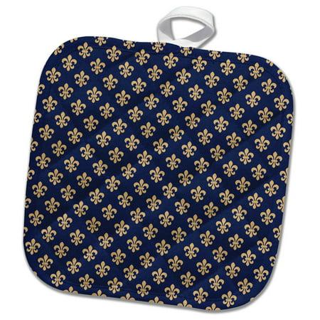 3dRose Pretty Blue and Gold Color Fleur De Lis Pattern - Pot Holder, 8 by - Pot Gold Color