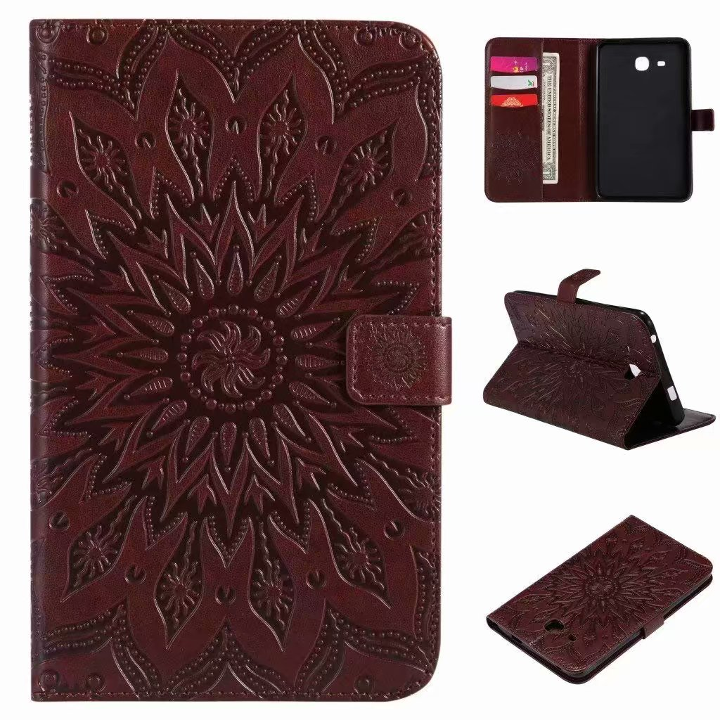For Samsung Galaxy Tab A 8.0 T350 Sunflower Embossed PU Leather Flip Stand Case Auto Wake/Sleep Smart Cover