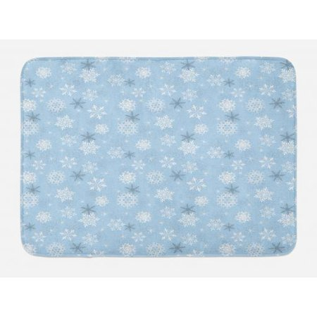 Winter Bath Mat, Cold Weather in Winter New Year`s Eve Traditional Holiday Christmas Stars, Non-Slip Plush Mat Bathroom Kitchen Laundry Room Decor, 29.5 X 17.5 Inches, Baby Blue Grey White, Ambesonne