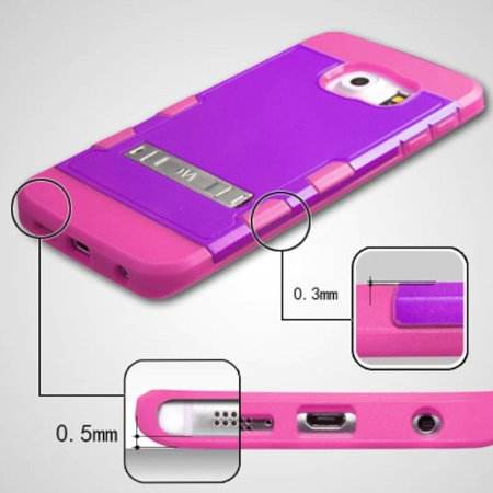 Insten Hard Rubber Coated Silicone Case w/stand For Samsung Galaxy S6 Edge - Purple/Hot Pink - image 3 of 9