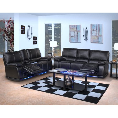 Edison Dual Recliner Sofa And Console Love Seat In Mesa Black