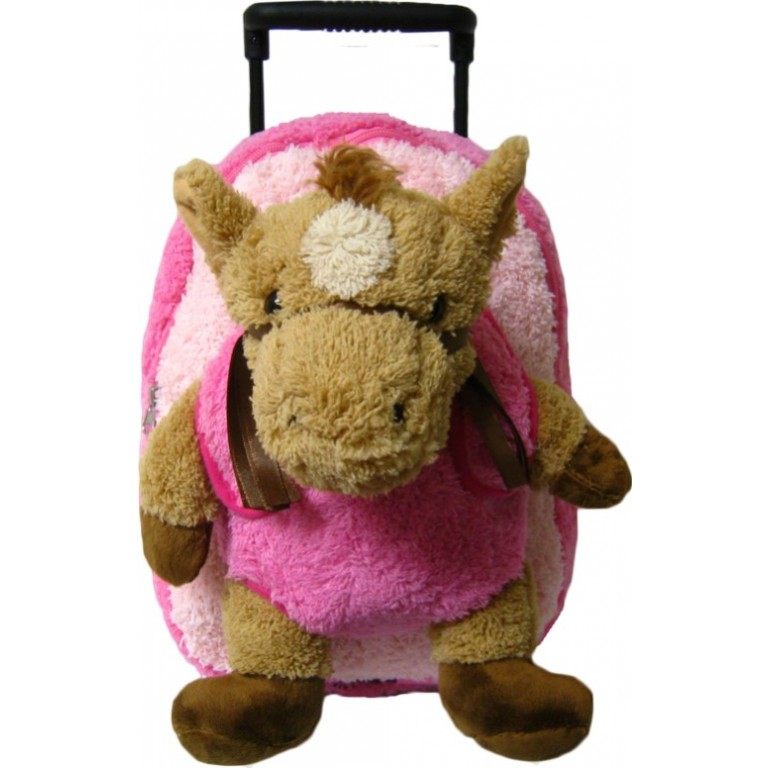 Kids Pink Horse Animal Plush Luggage Toddlers Roller Backpack