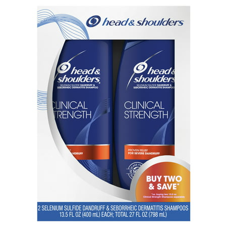 Head and Shoulders Clinical Strength Dandruff and Seborrheic Dermatitis Shampoo, 13.5 fl oz Twin (Best Shampoo For Sisterlocks)