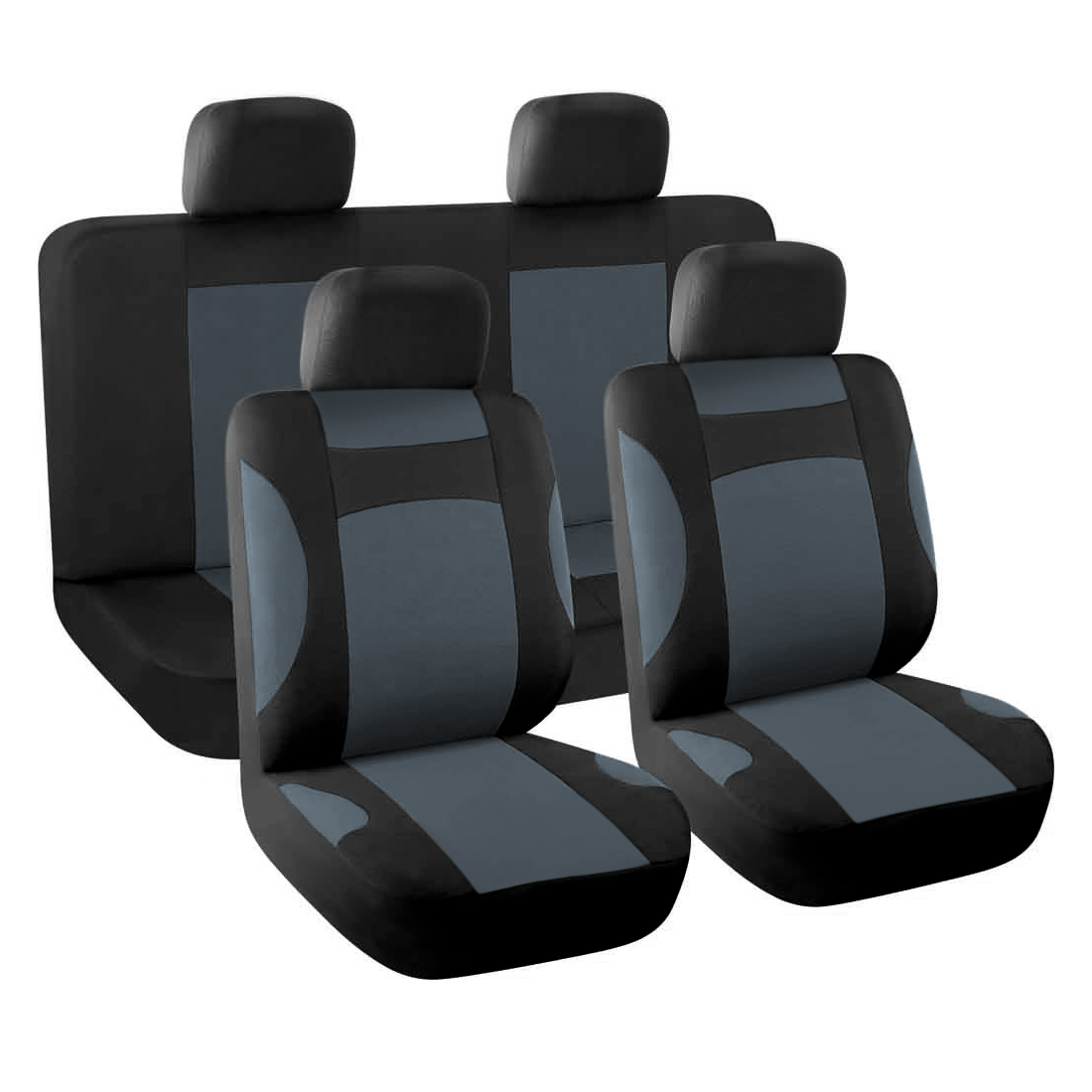 Breathable Car Seat Covers Full Set For Auto W 4 Headrests Gray