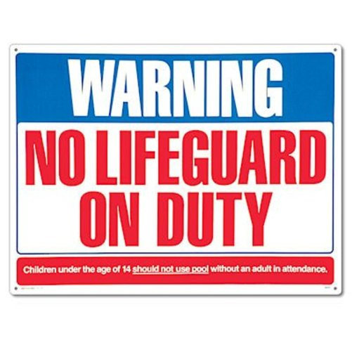 Poolmaster 40325 Warning No Lifeguard Sign for Residential or Commercial Pools Multi-Colored