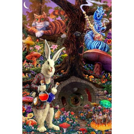 Down the Rabbit Hole - Alice in Wonderland Poster - 24x36 - Alice In Wonderland Rabbit