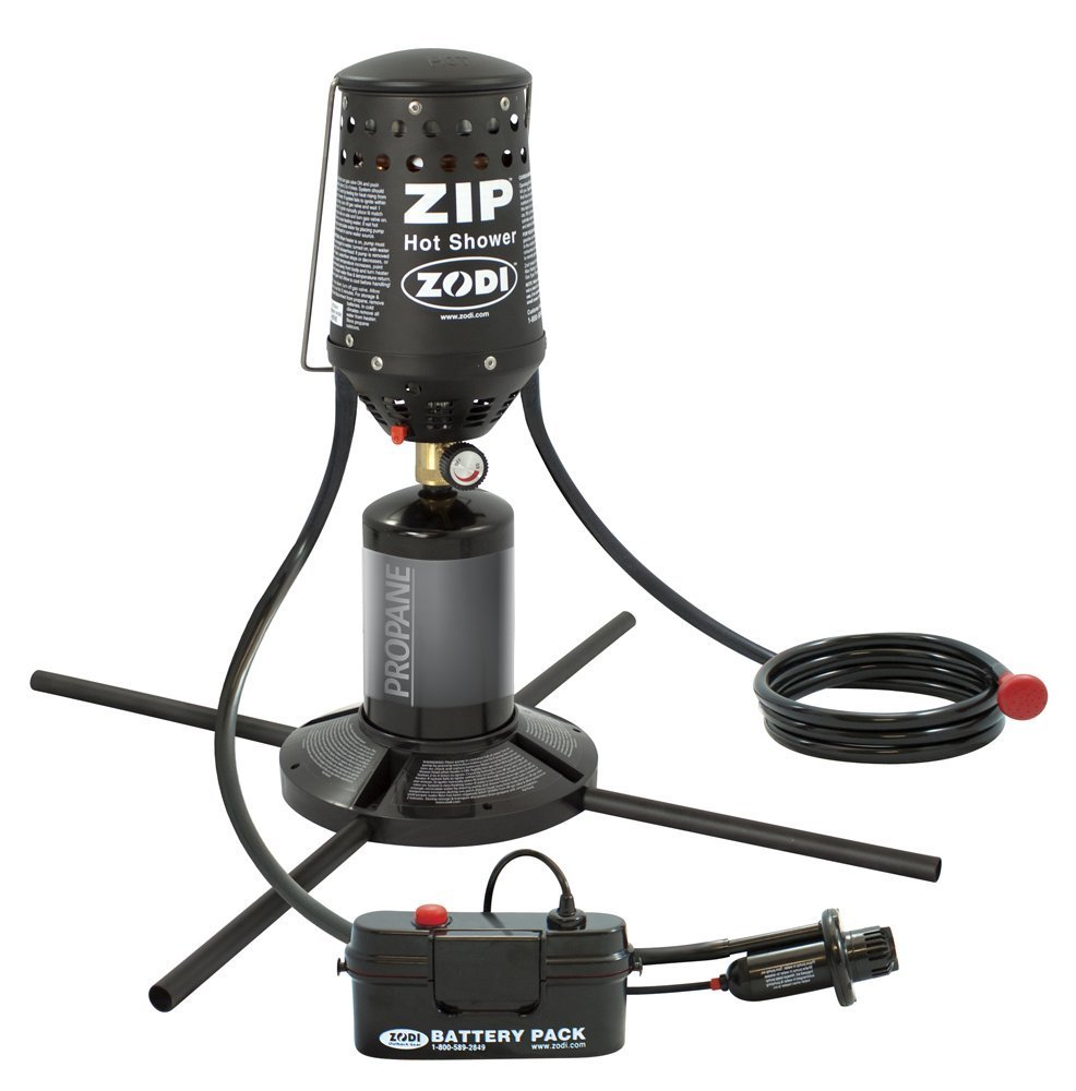 Zodi ZIP Portable Outdoor Battery Powered Instant Hot Shower System with Stand