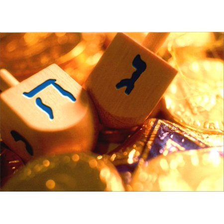 Plastic Dreidel - Avanti Press Dreidels & Coins on Gold Hanukkah Card