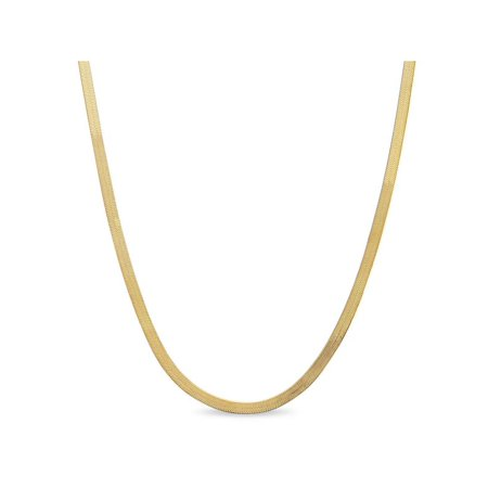 Gold Over Sterling Silver Necklace - Gold over Sterling Silver Herringbone Chain Necklace 18 inches