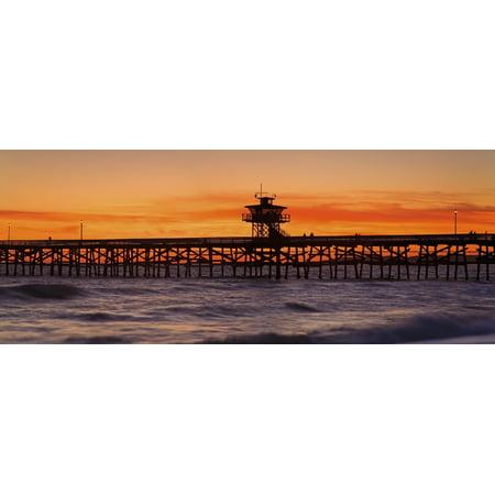 San Clemente Municipal Pier In Sunset Panorama San Clemente City Orange County Southern California Usa Canvas Art - Richard Cummins  Design Pics (28 x (The Pier Panama City Beach)