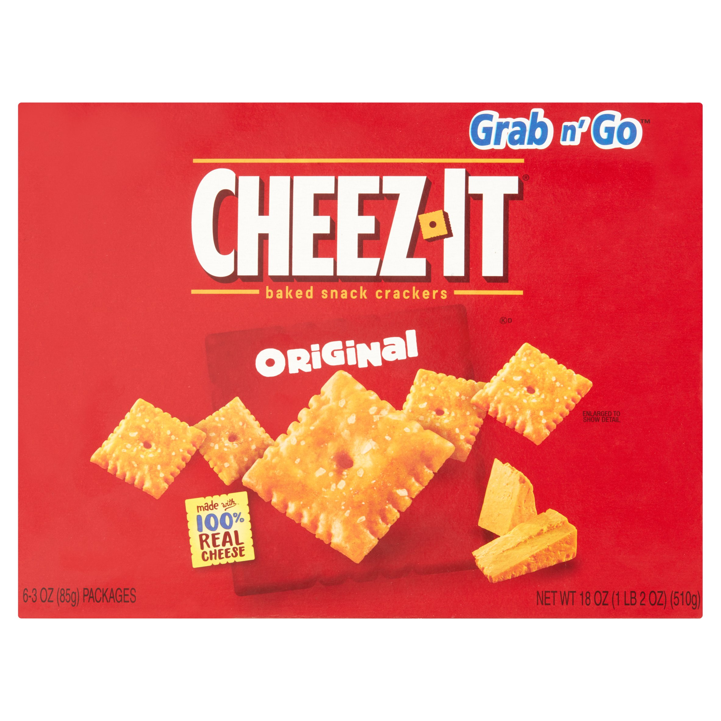 Cheez-It Grab n' Go Original Baked Snack Crackers, 3 oz, 6 pack