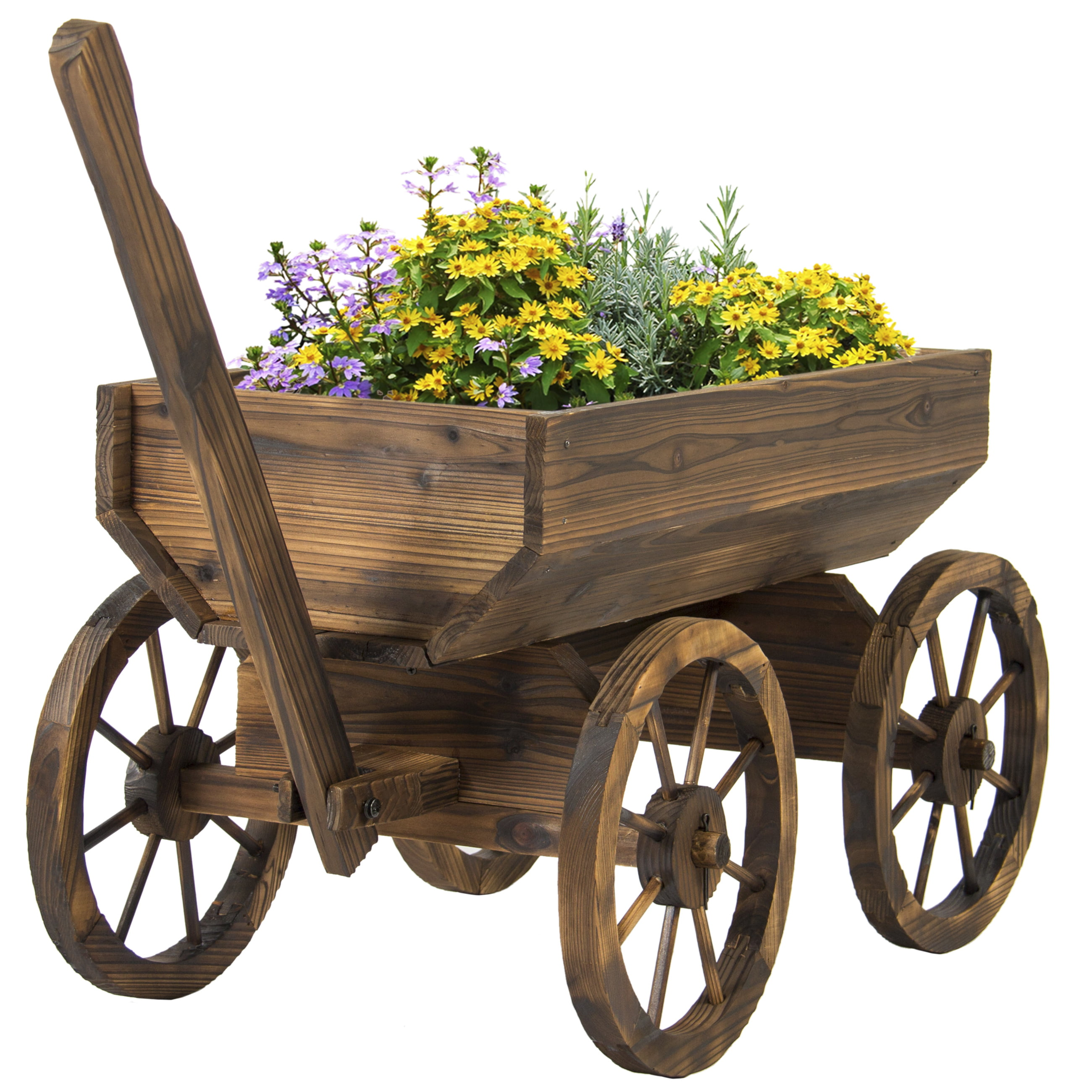 Garden Wood Wagon Flower Planter Pot Stand With Wheels Home Outdoor Decor    Walmart.com