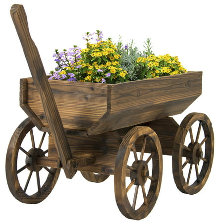 Best Choice Products Garden Wood Wagon Flower Planter Pot Stand With Wheels Home Outdoor Decor ()