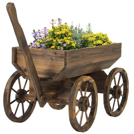 Best Choice Products Garden Wood Wagon Flower Planter Pot Stand With Wheels Home Outdoor Decor - Personalized Flower Pot