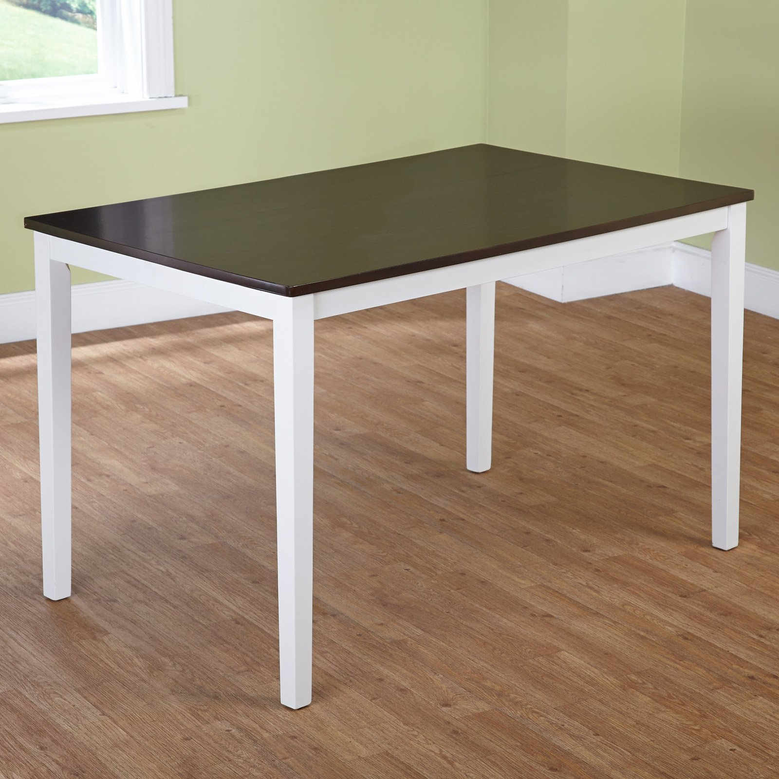 Eban 2-Tone Dining Table, White/Mocha