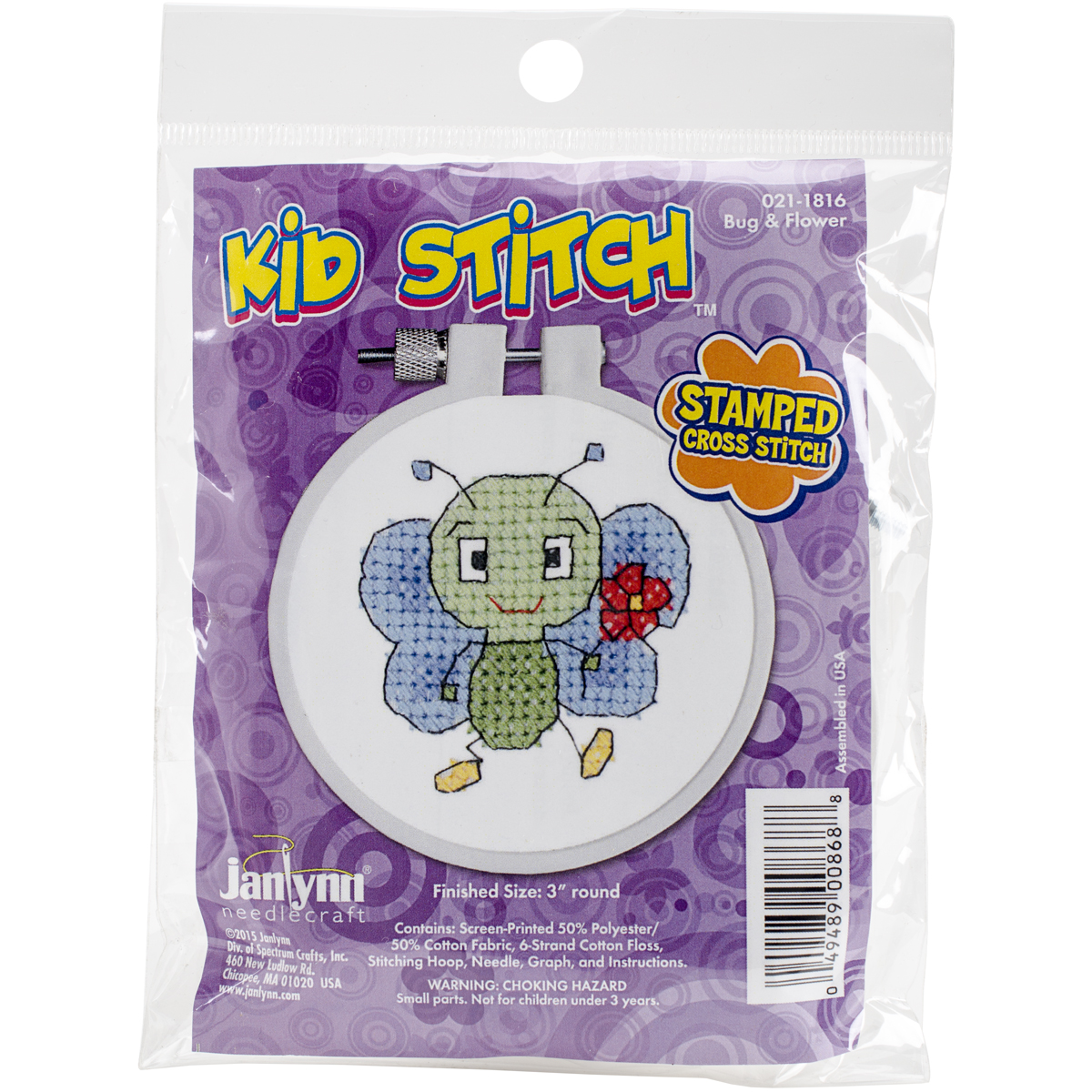 "Kid Stitch Bug & Flower Stamped Cross Stitch Kit, 3"" Round"