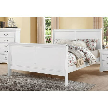 ACME Louis Philippe III Eastern King Sleigh Bed in White, Multiple Sizes