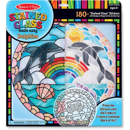 Melissa & Doug Stained Glass Made Easy Craft Kit: Dolphins - 180+ Stickers for $<!---->