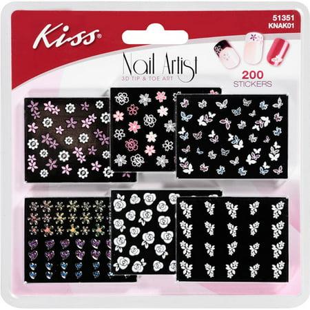 Kiss Nail Artist 3D Tip & Toe Art Stickers, 200 Ct (Kiss Nail Art Stickers Halloween)