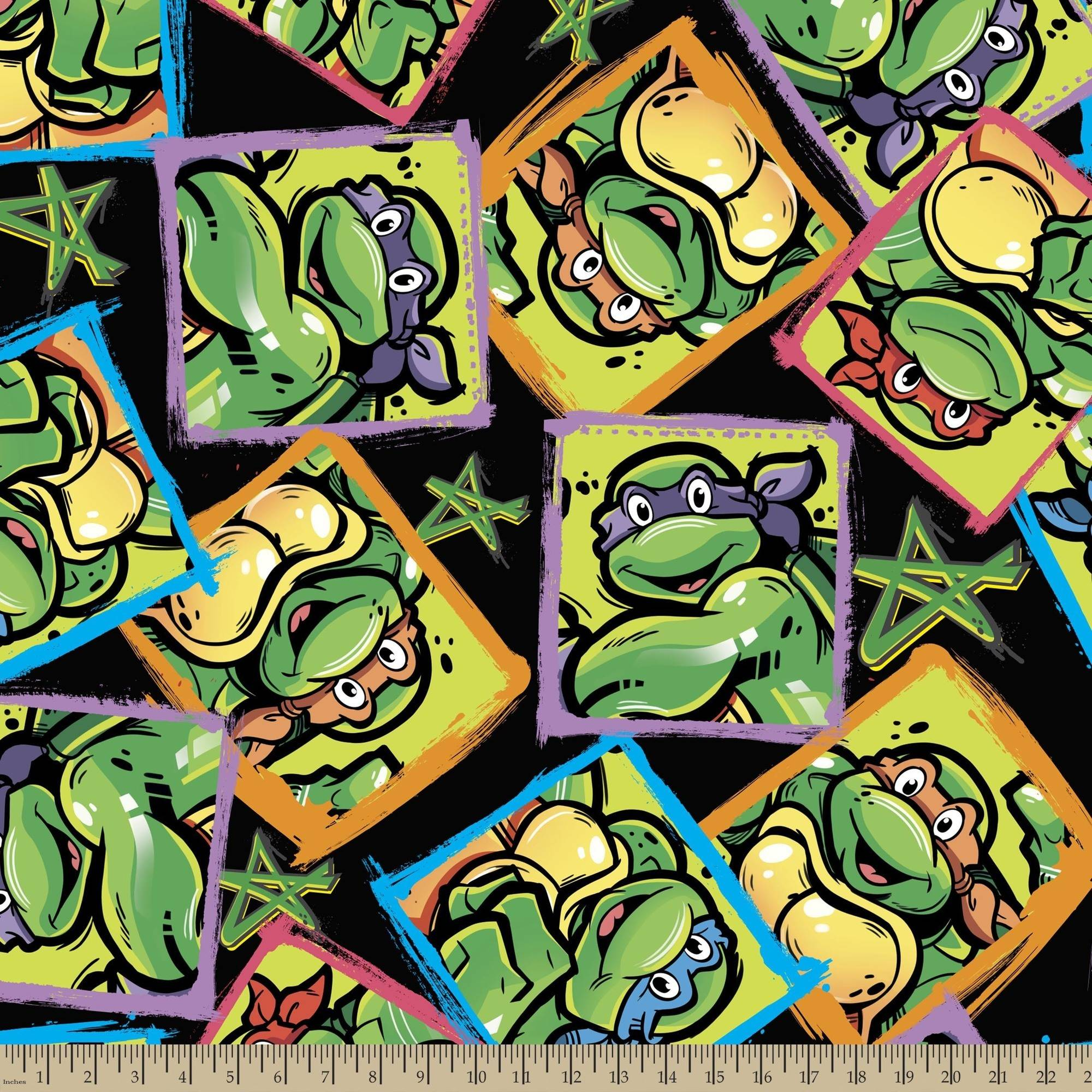 "TMNT Turtles and Stars Fleece, 59/60"" Width, Fabric by the Yard, Black"