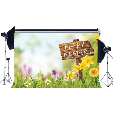 HelloDecor Polyster 7x5ft Easter Backdrop Fresh Flowers Happy Easter Butterfly Wood Road Sign Green Grass Field Bokeh Spring Frohe Ostern Photography Background Kids Adults Photo Studio Props - Hollywood Sign Backdrop