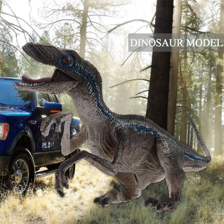 Jurassic Blue Velociraptor Realistic Raptor Dinosaur Model Toy Kid Gift Moveable Jaw Arms
