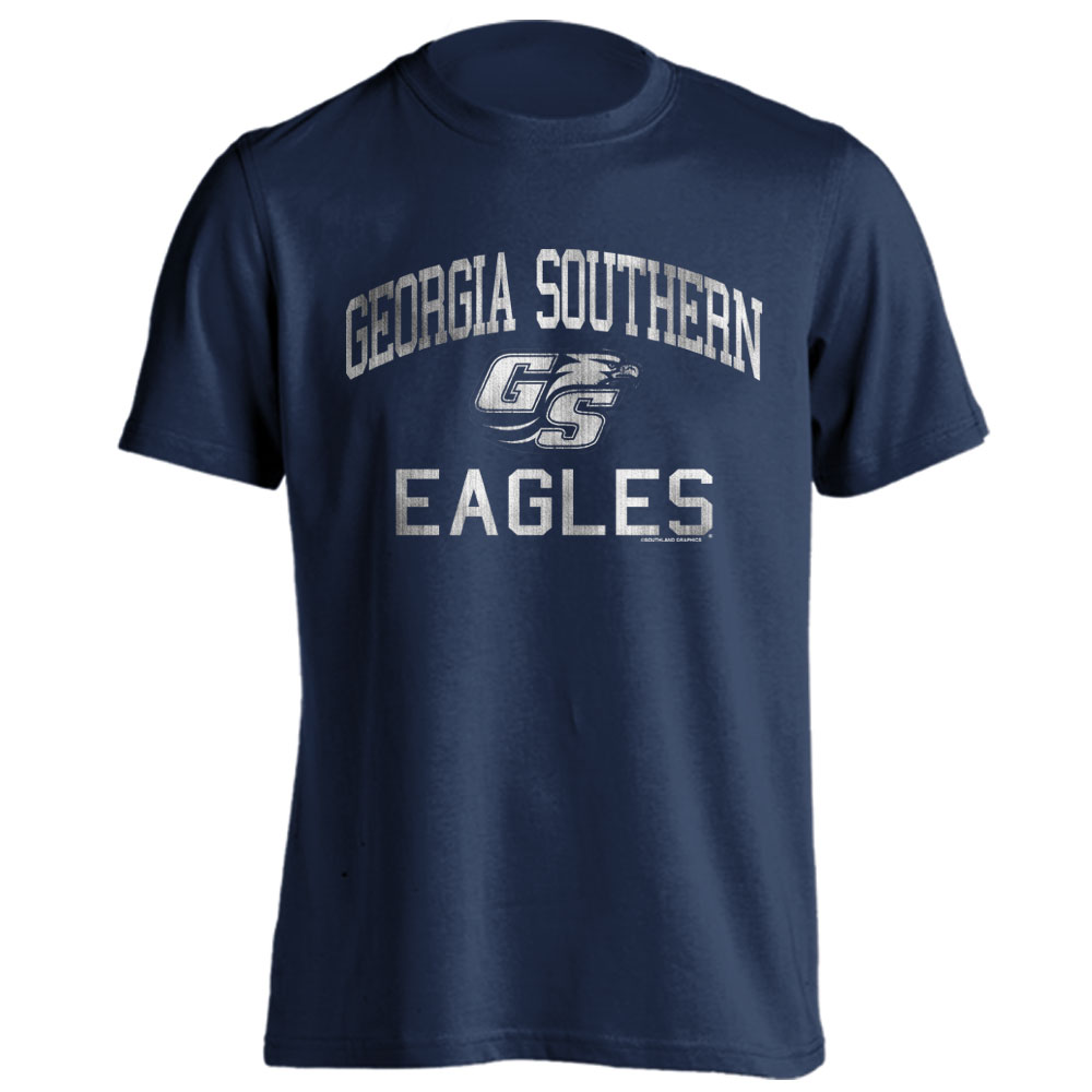 Georgia Southern Eagles Distressed Retro Logo Navy Short Sleeve T-Shirt by Southland Graphics Apparel